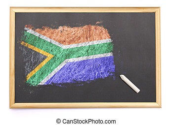 Blackboard with the national flag of South Africa drawn...