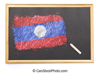 Blackboard with the national flag of Laos drawn on.(series)