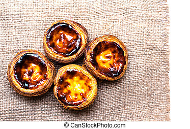 Dessert egg tart sweet custard pie isolated on white...