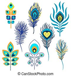 Peacock feathers vector illustration clipart. Blue and green...