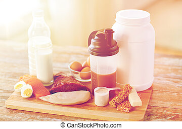 close up of natural protein food and additive - sport,...