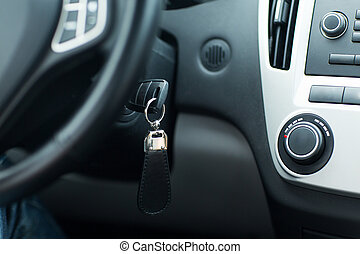 car key in ignition start lock - transportation and...