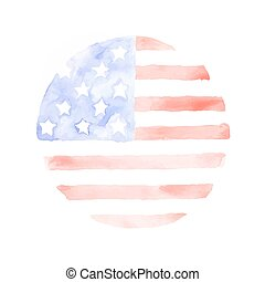 Watercolor USA Flag isolated on white background. The USA...