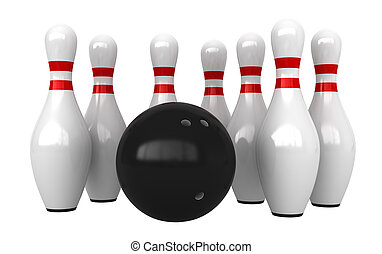 Bowling - 3d render of bowling pins and ball isolated over...