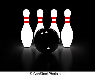 Bowling - Abstract 3d rendering of bowling pins and ball