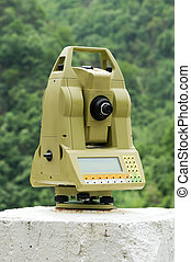 Total station - Geodetic measuring instrument on pillar for...