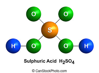 Sulfuric Acid - 3d render of molecular structure of sulfuric...