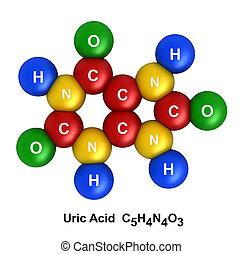 Uric Acid - 3d render of molecular structure of uric acid...
