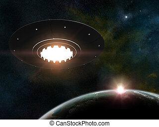 Flying saucer - 3d render of flying saucer over stars...