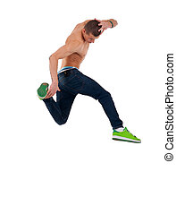 shirtless dancer jumps