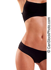 Healthy eating and sport concept - Perfect female body...