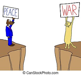 Peace and war - Cat and dog have different views