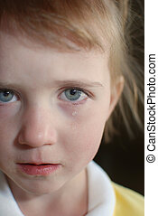 Little Girl Crying with Tears Rolling Down Cheek