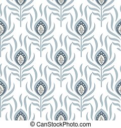 Peacock pastel blue seamless vector pattern. Peafowl...
