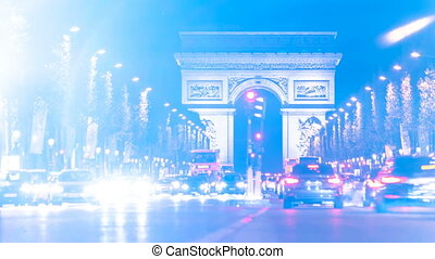 Arc De Triomphe Traffic Time-lapse - Long shot looking down...