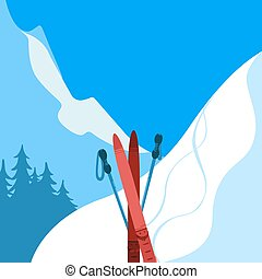 Mountains and ski equipment. Winter background. - Holiday...