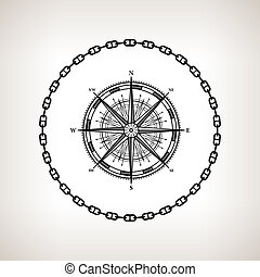 Silhouette compass rose on a light background - Silhouette...