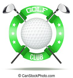 Golf clubs and ball with ribbons. Sporting symbol. Vector...