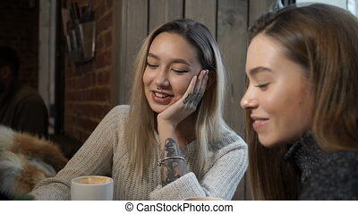 Two friends communicate with in cafe