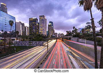 Downtown Los Angeles at sunset with car light trails