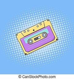 Compact cassette illustration pop-art style