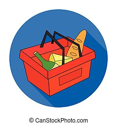 Shopping basket full of groceries icon in flat style isolated on white background. Supermarket symbol stock vector illustration.