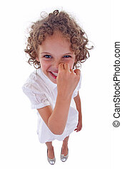 girl picking her nose - cute little girl picking her nose...