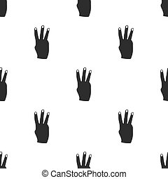 Three fingers icon in black style isolated on white background. Hand gestures pattern stock vector illustration.