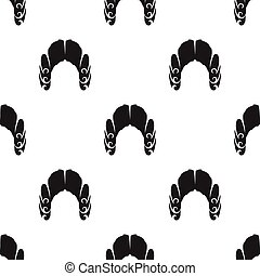 Judges wig icon in black style isolated on white background....