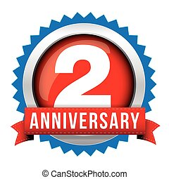 Two years anniversary badge with red ribbon