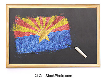 Blackboard with the national flag of Arizona drawn...
