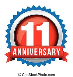 Eleven years anniversary badge with red ribbon