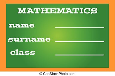 Label book mathematics on green background