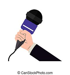 hand holding microphone with purple support vector...