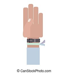 hand with light blue sleeve and bracelet