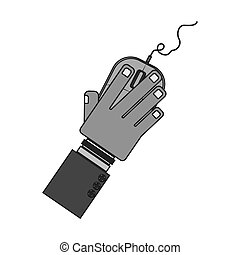 silhouette hand with computer mouse and wired vector...