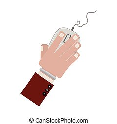 hand with computer mouse and wired vector illustration