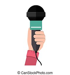 hand holding microphone with green support vector...