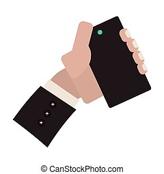 hand holding smartphone for selfie cam