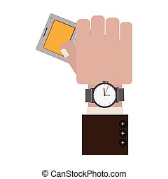 hand holding gray office calculator with Watch vector...
