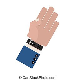 hand side with formal blue sleeve and watch