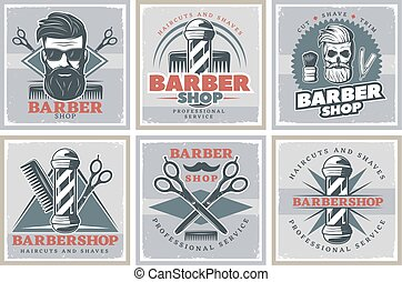 Barbershop Hipster Posters Set - Six square old style...