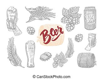 Beer Icon Set - Gray isolated in engrave style beer icon set...