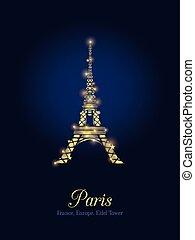 Błękitny, złoty, sylwetka, Paryż, Eiffel, francuski, Paryż,...