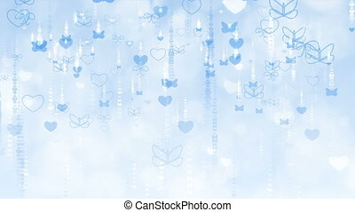 Valentine's Day Background with Butterflies and Hearts.
