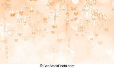 Orange Valentine's Day Background with Butterflies and Hearts.