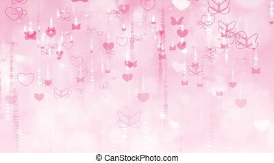 Red Valentine's Day Background with Butterflies and Hearts....