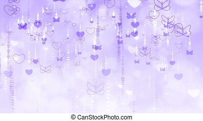 Violet Valentine's Day Background with Butterflies and Hearts.