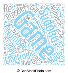 sudoku electronic game text background wordcloud concept