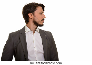 Profile view of handsome businessman